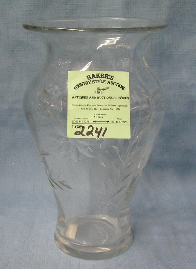 Floral decorated crystal vase