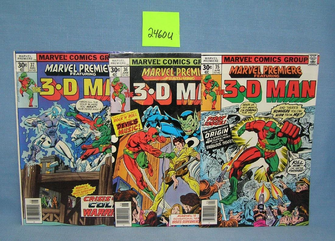 Group of early Marvel the 3D Man comic books