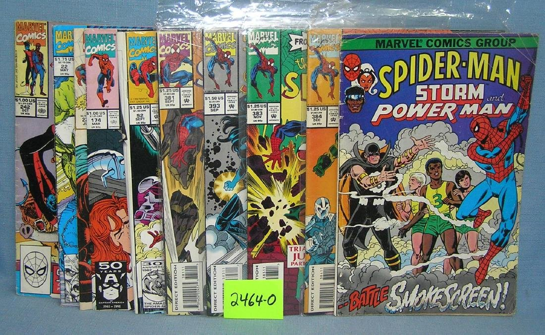 Group of vintage Marvel Spiderman comic books