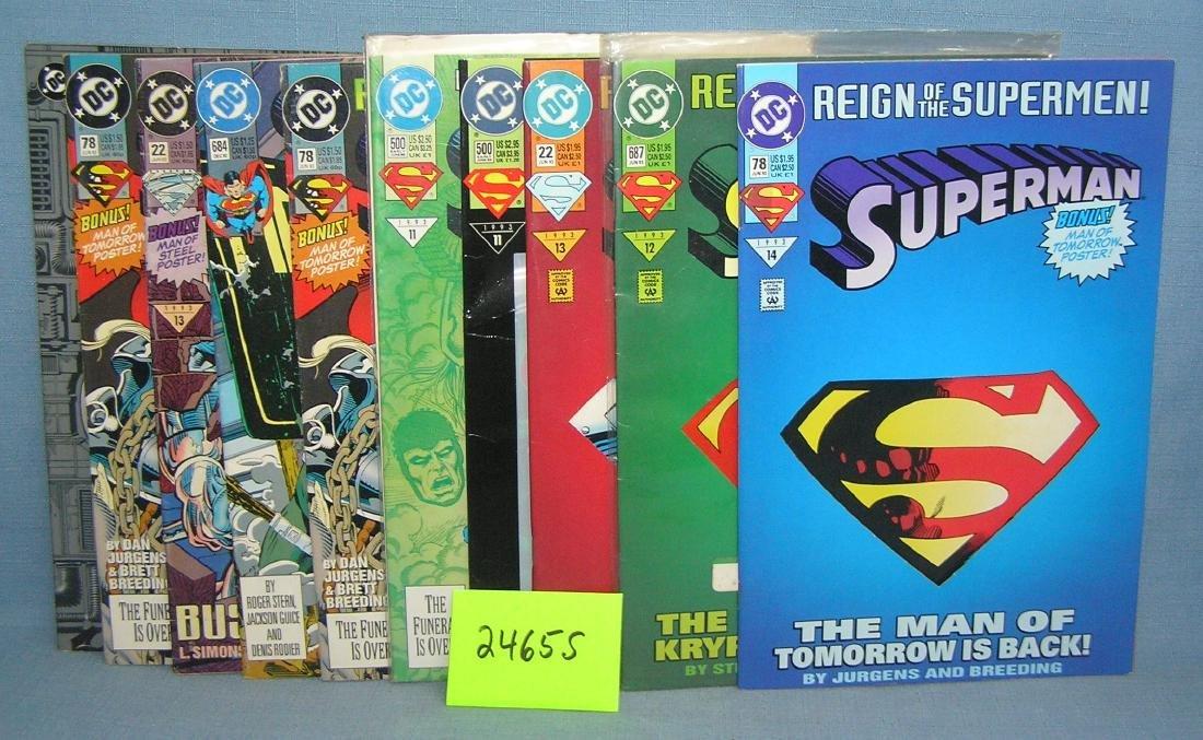 Group of vintage DC Superman comic books