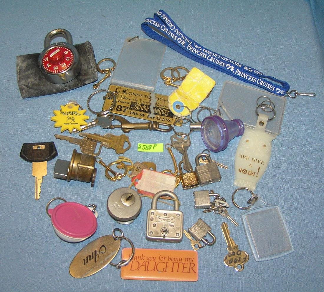 Vintage locks, keys, key chains and more