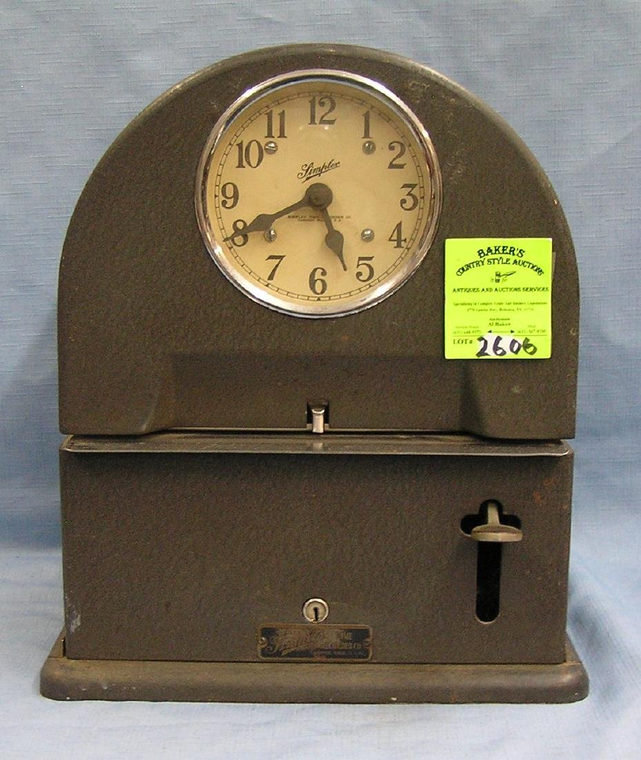Antique Simplex cathedral shaped time clock