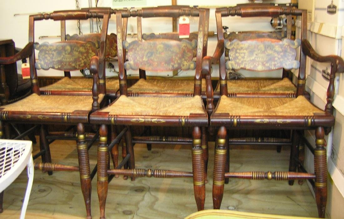 Set of six great early antique dining chairs