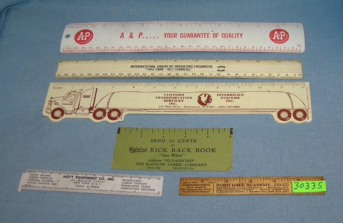Group of 6 advertising rulers
