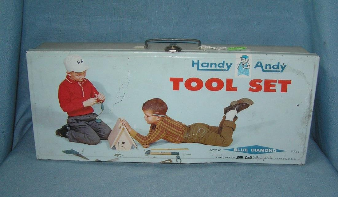 Handy Andy tool set with metal illustrated box