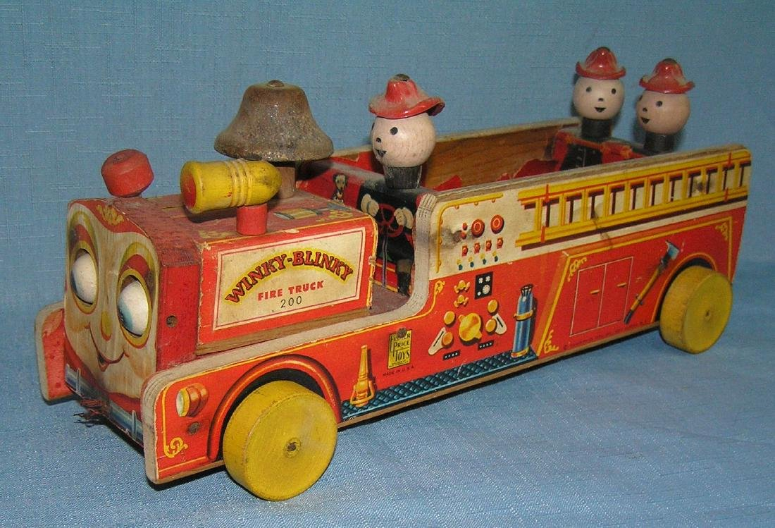 Fisher Price bell ringing mechanical fire dept pull toy