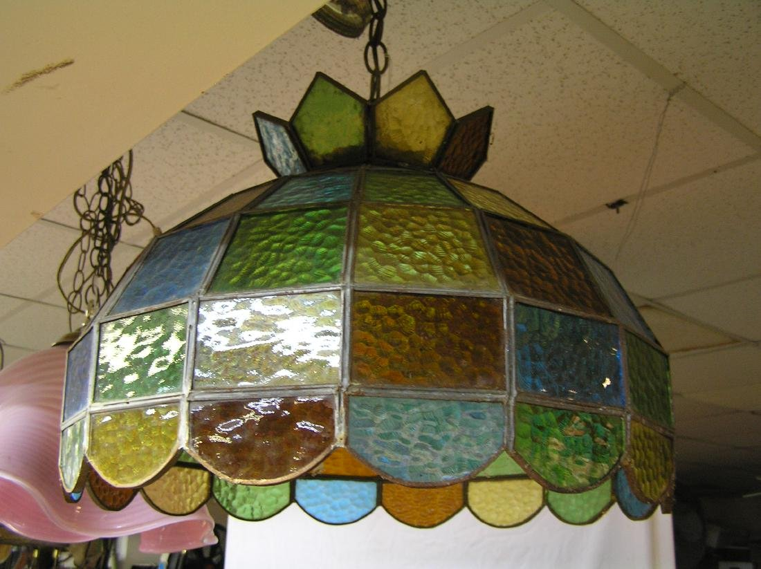 Leaded stained glass chandelier