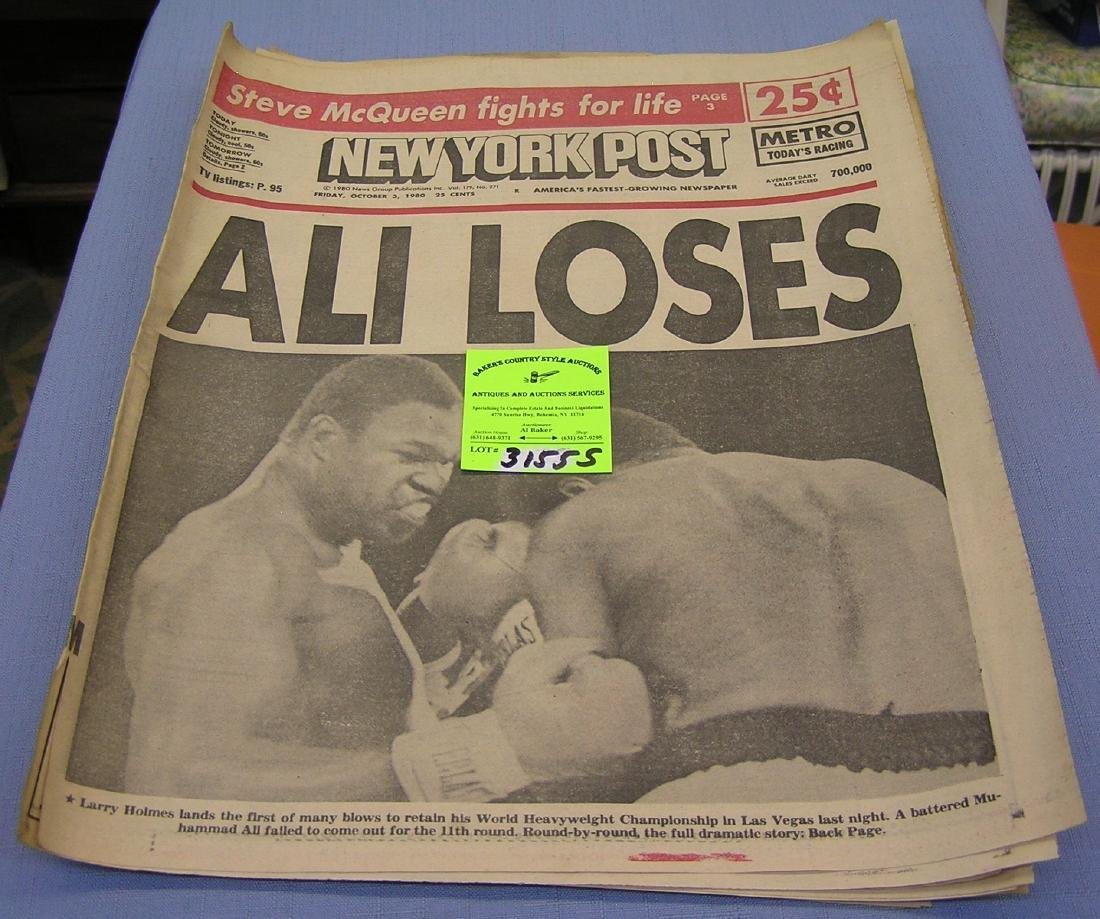 Vintage boxing newspaper headlines and clippings