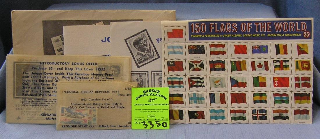 Collection of vintage stamps including Kennedy