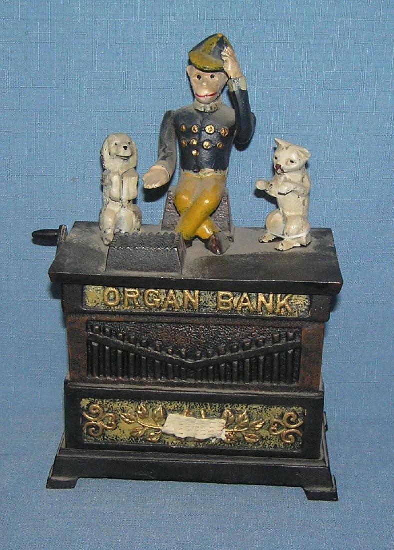 Hand painted cast iron Organ mechanical bank