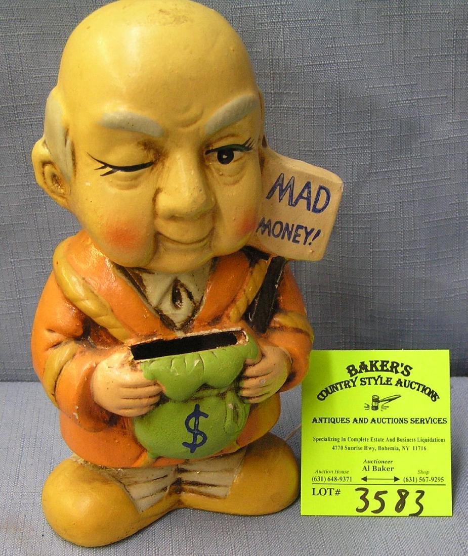 Vintage chalkware mad money bank