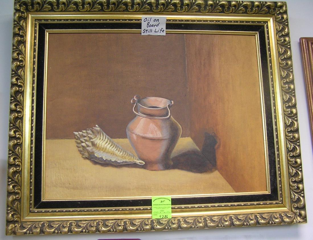 Oil on board still life painting