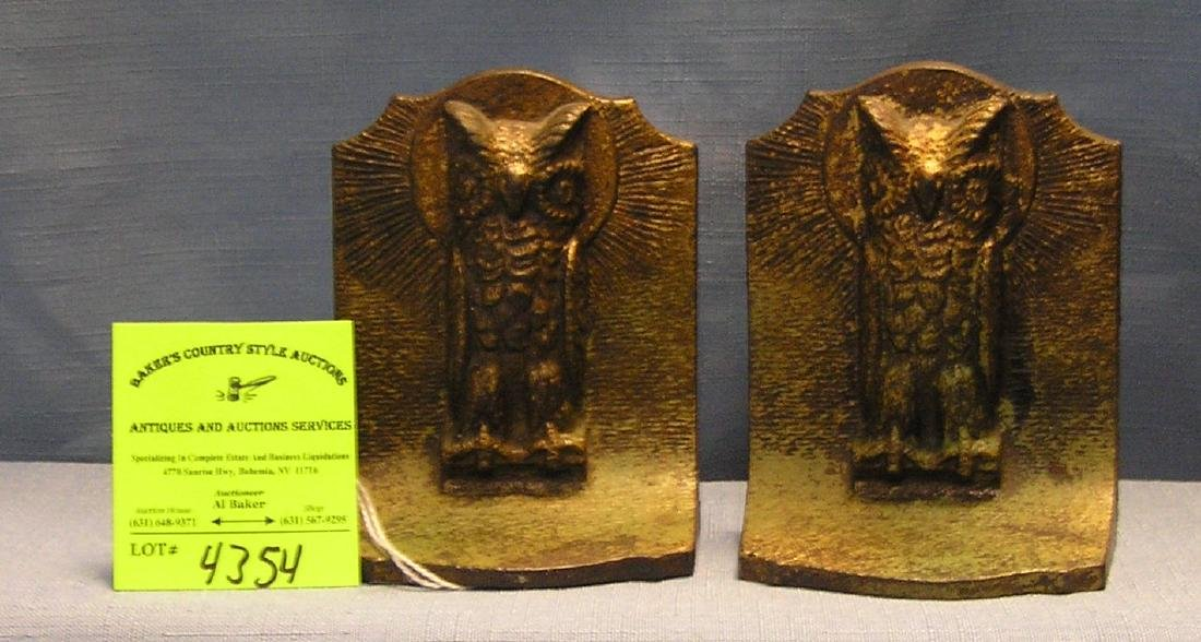 Pair of early cast iron figural owl shaped bookends