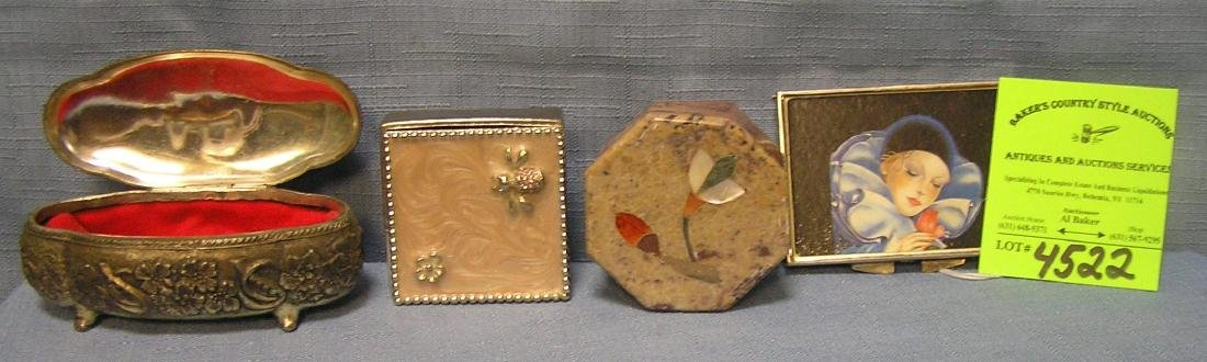Group of four vintage pill and trinket boxes