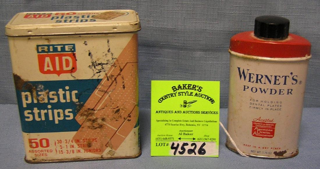 Group of four early advertising tins