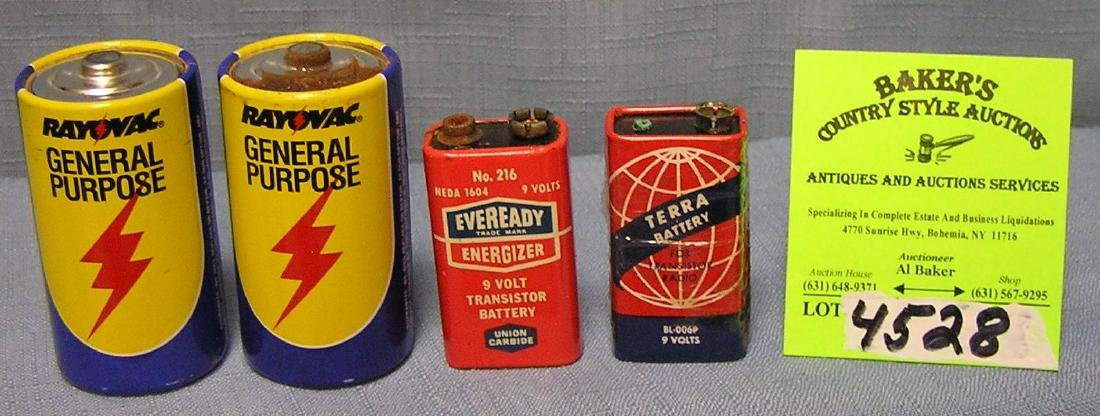 Group of four vintage batteries
