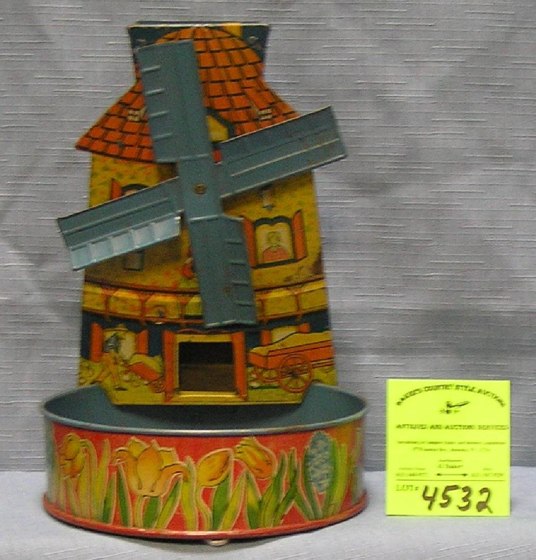 Antique all tin mechanical windmill sand toy