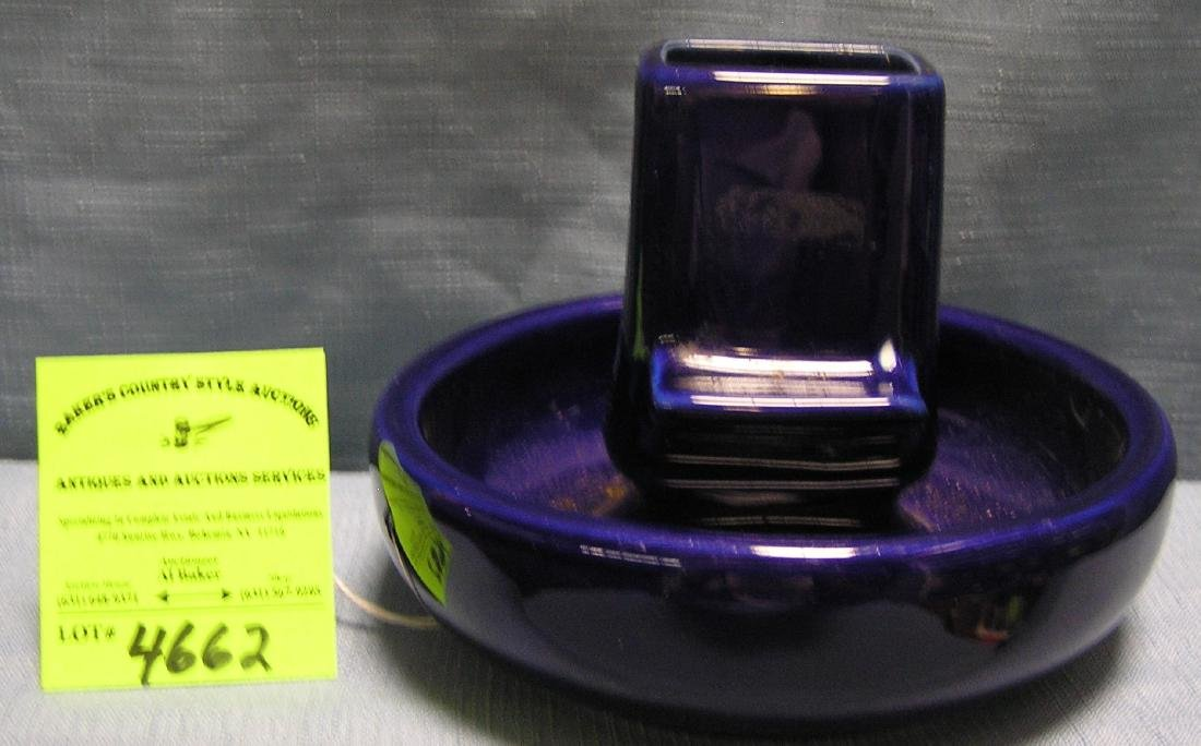 Cobalt blue glazed over ash tray and match holder