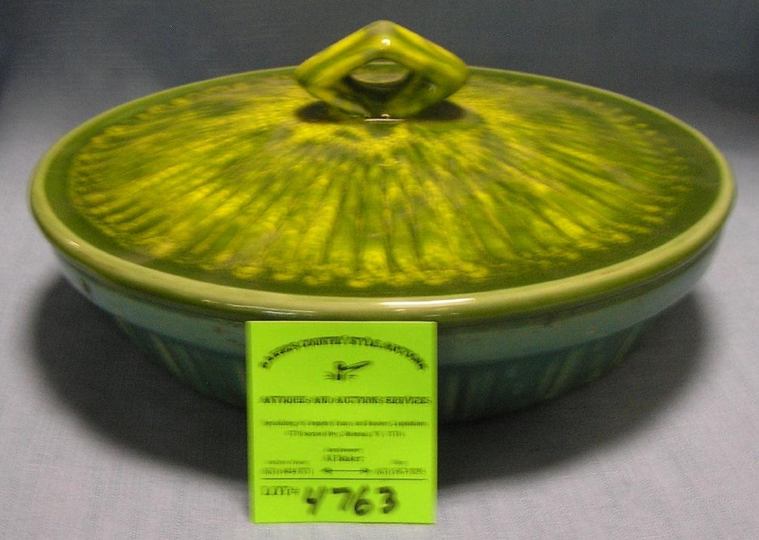 Large antique art pottery covered bowl