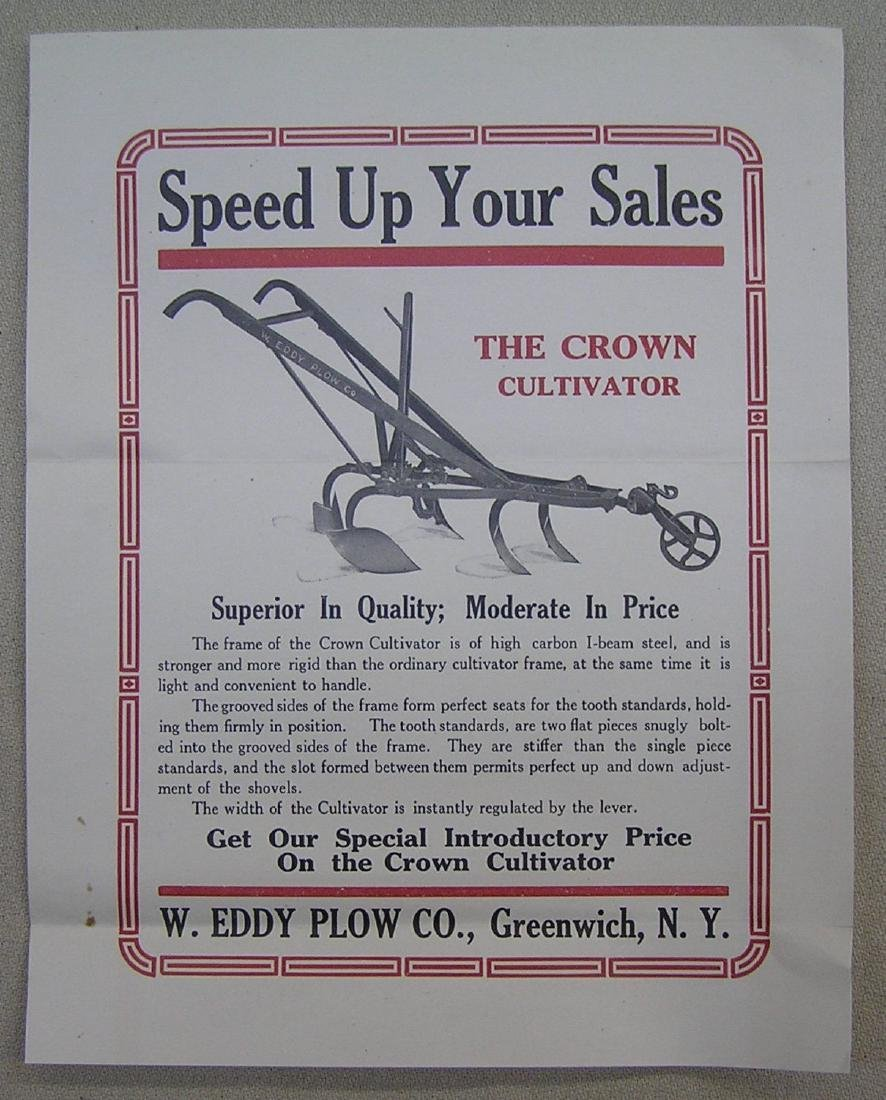 Early farm cultivator advertising brochure