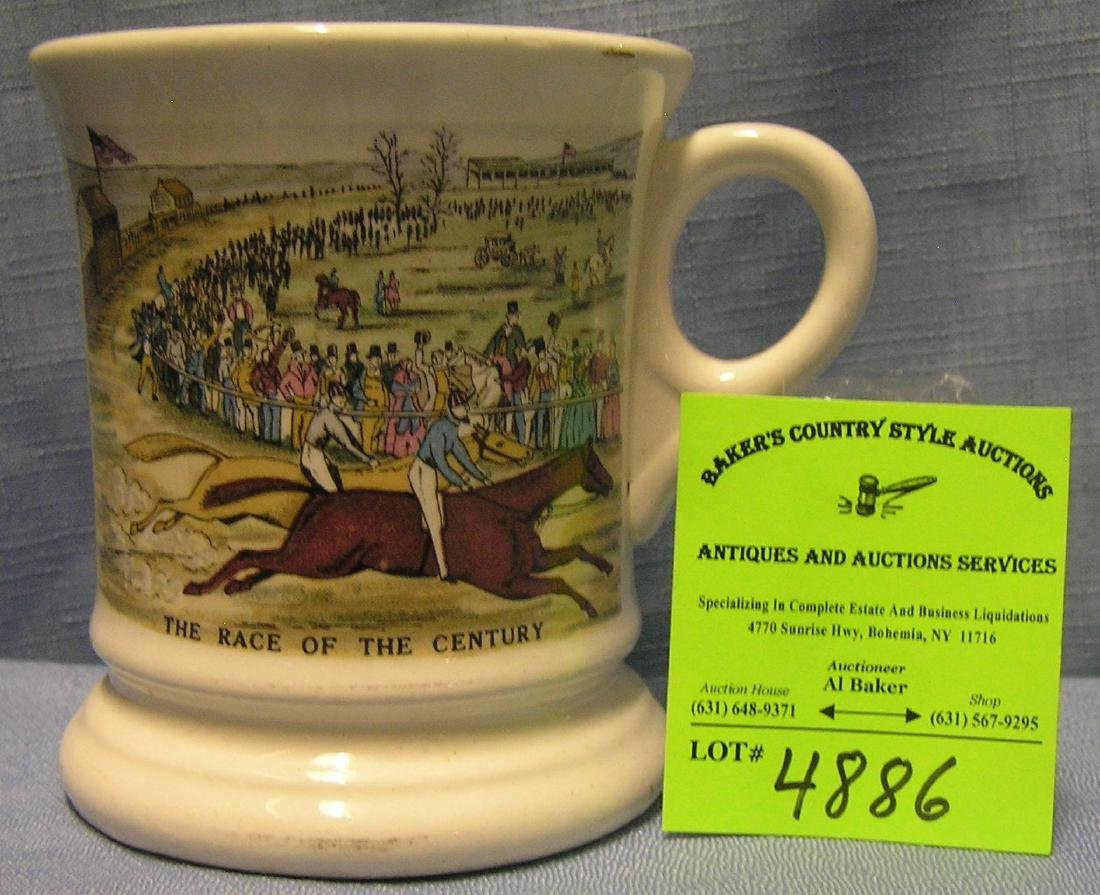 Vintage horse racing themed shaving mug