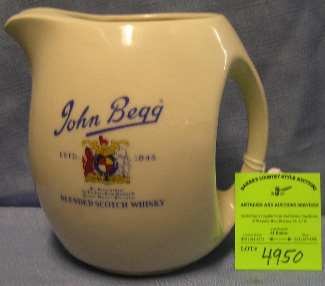 John Begg whiskey advertising pitcher