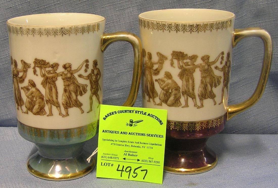Pair of early Greek classic beer / coffee mugs