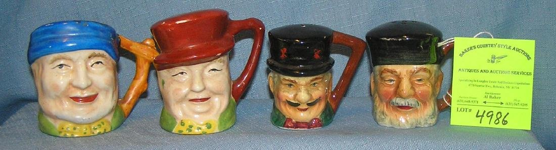 Group of four vintage Toby mug style figural S&P