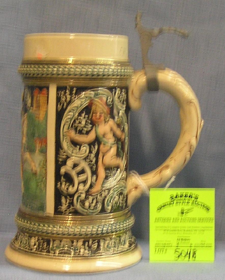 Vintage German Beer stein less pewter lid