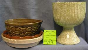 Group of art pottery  stoneware planters and trays