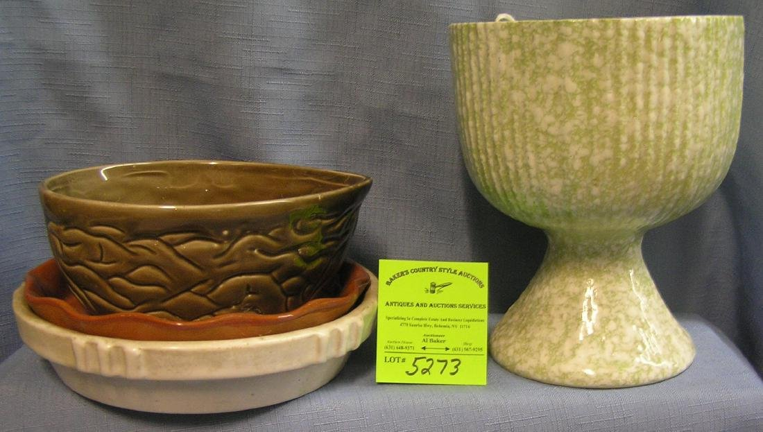 Group of art pottery & stoneware planters and trays