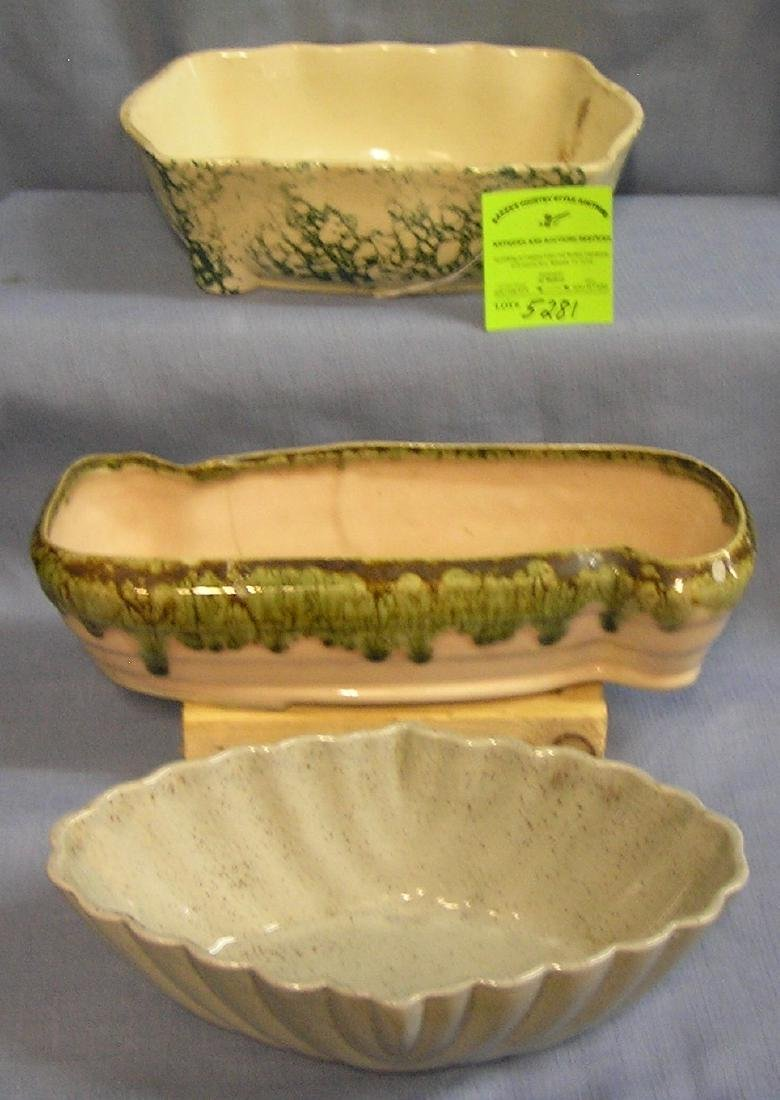 Group of three vintage art pottery planters