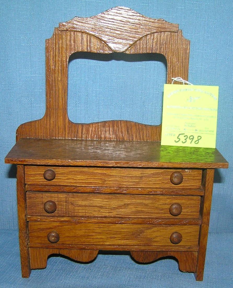 Miniature oak salesman sample dresser