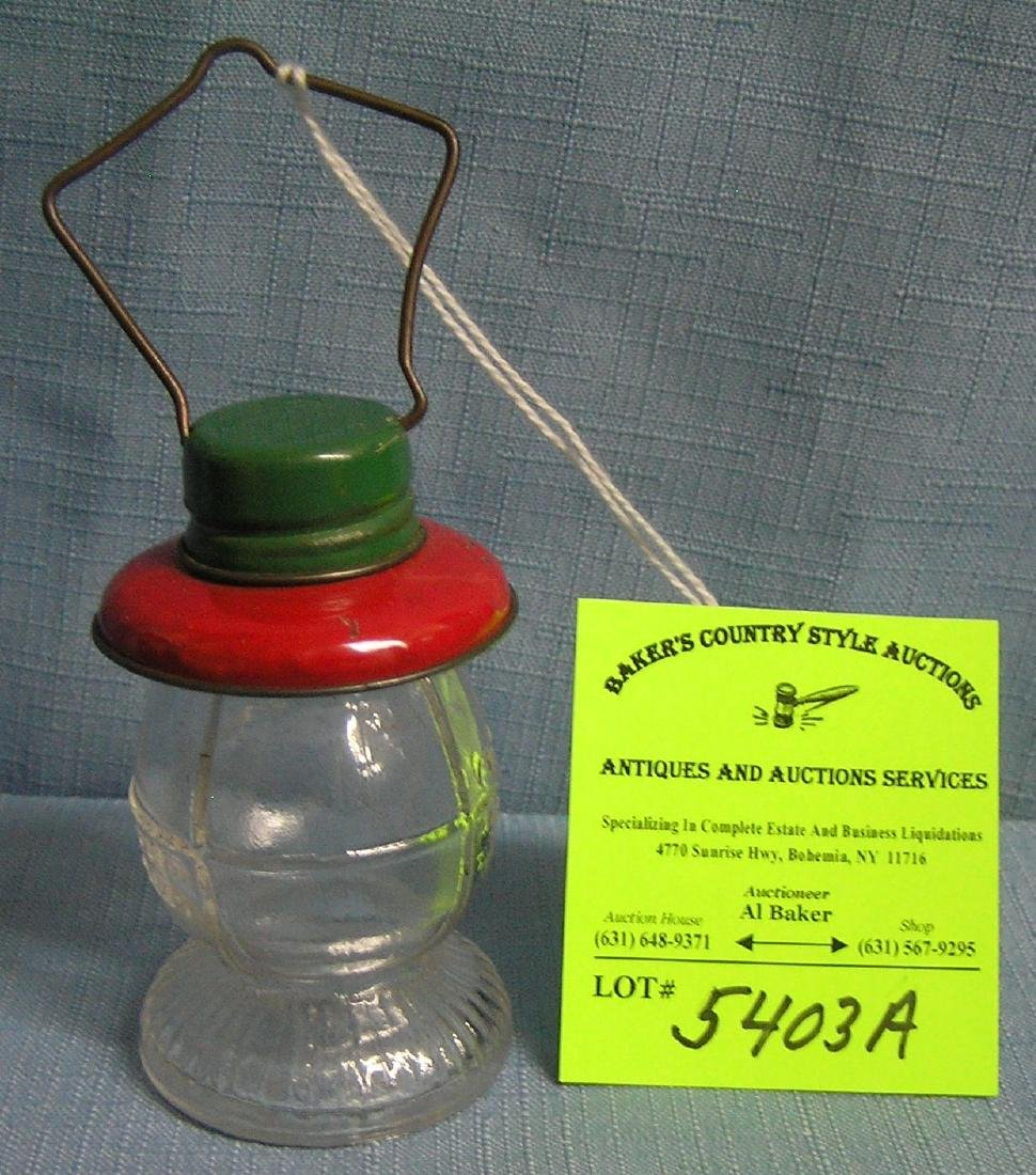 Antique lantern candy container glass and tin