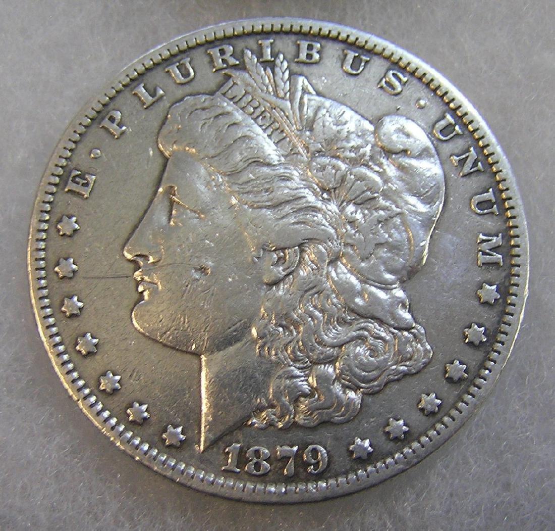 1879S Morgan silver dollar in fine condition