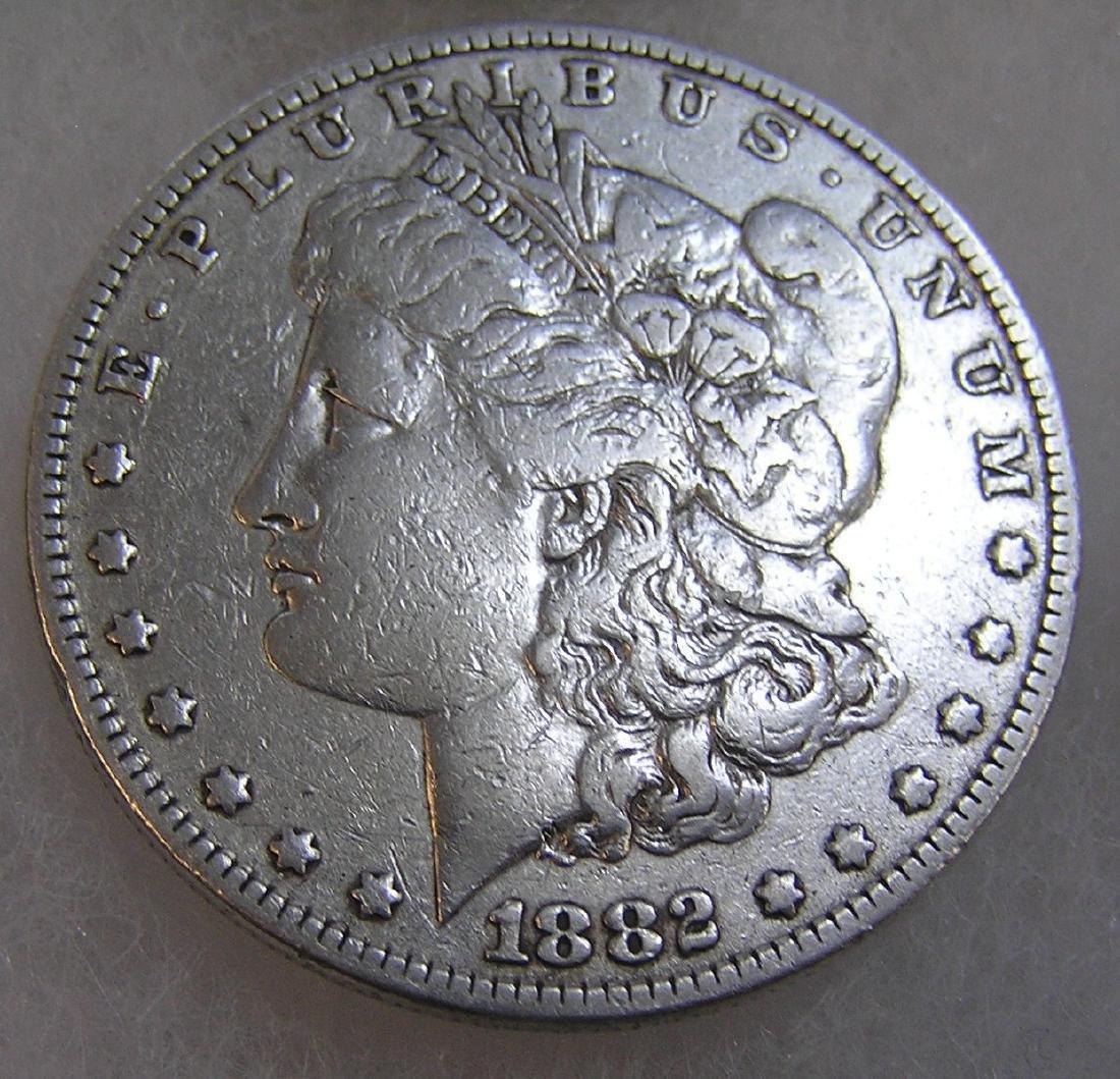 1882 Morgan silver dollar in fine condition