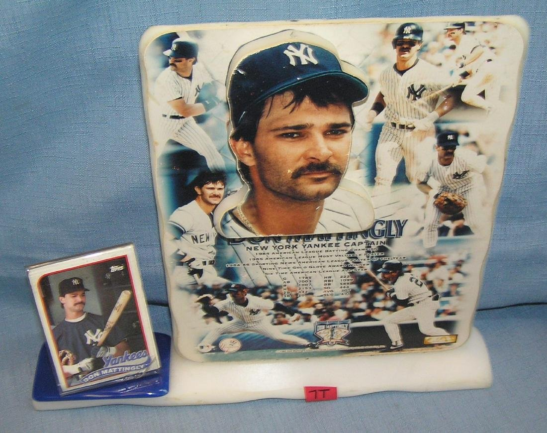 Don Mattingly plaque and baseball card set