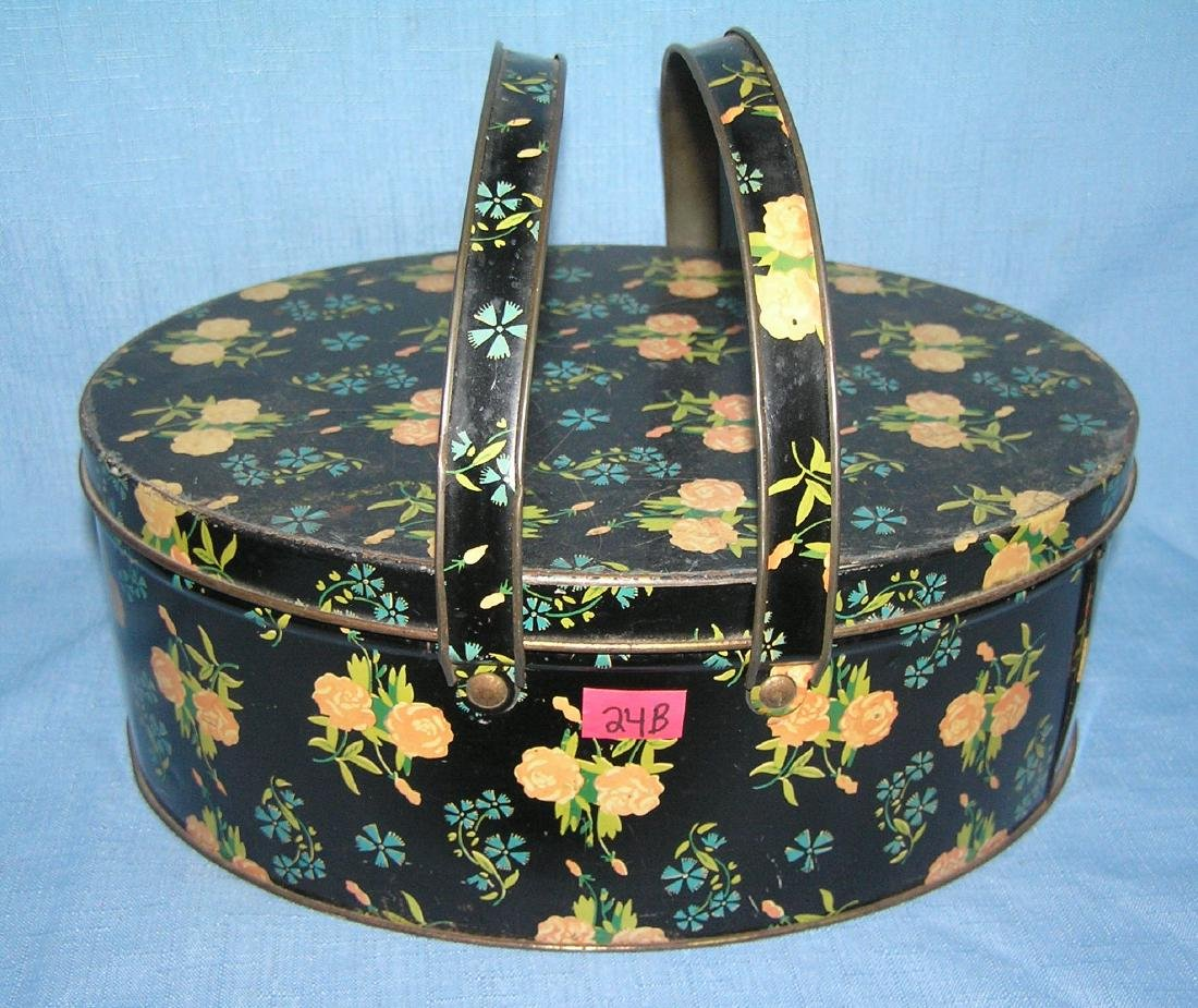 Antique all tin sewing basket