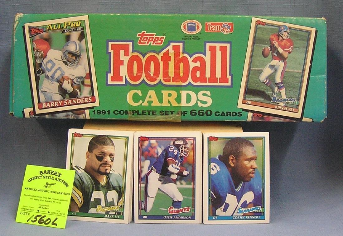 Box full of 1991 Topps Football cards