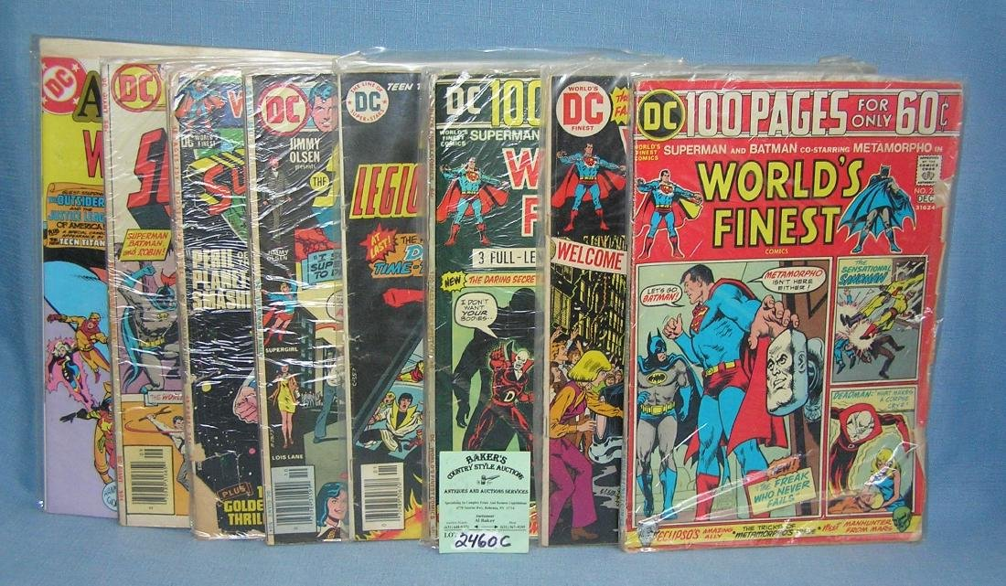 Group of early Superman comic books