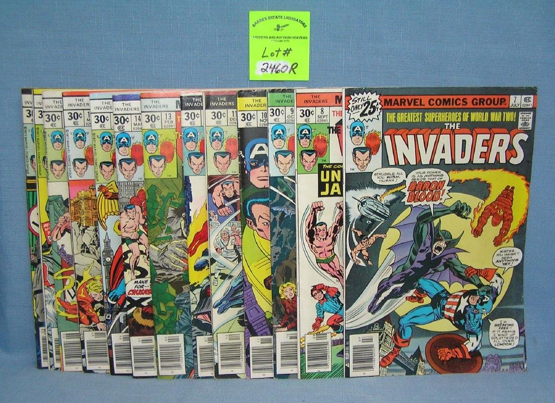 Group of early Marvel The Invaders comic books