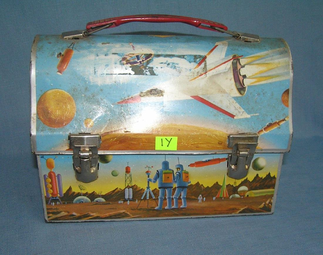 Early space themed domed shaped lunch box