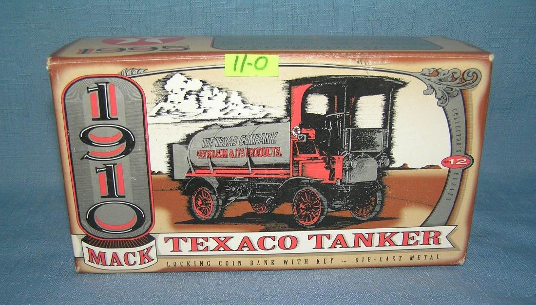 All cast metal 1910 Texaco tanker truck bank