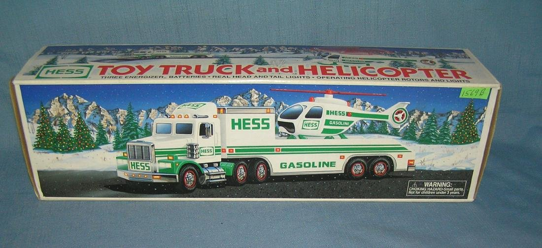 Vintage HESS toy truck and helicopter