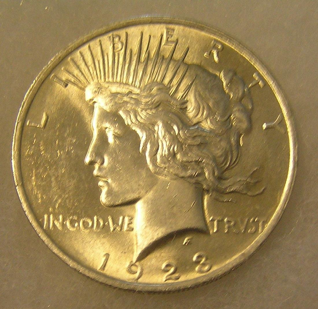 1923 Lady Liberty Peace silver dollar in fine condition