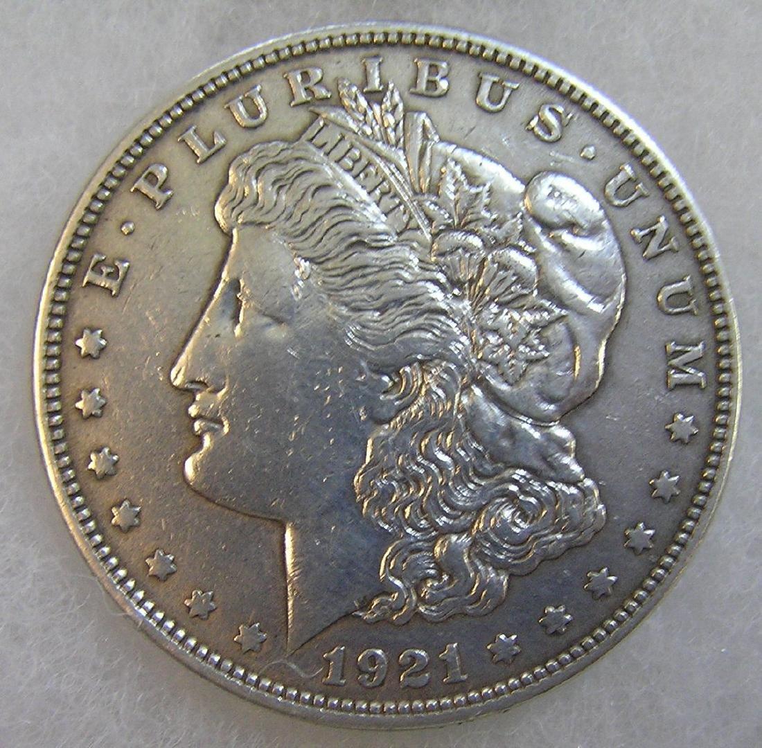 1921 Morgan silver dollar in fine condition