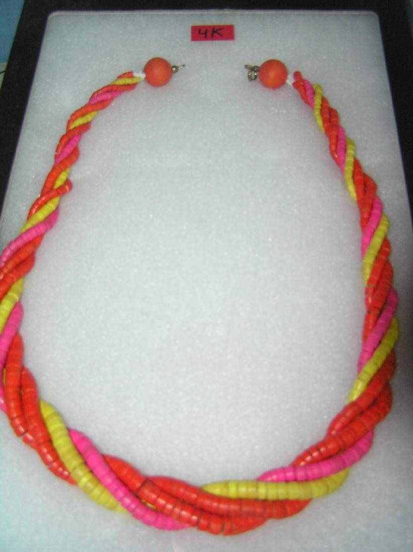 Vintage costume jewelry braided necklace circa 1970's