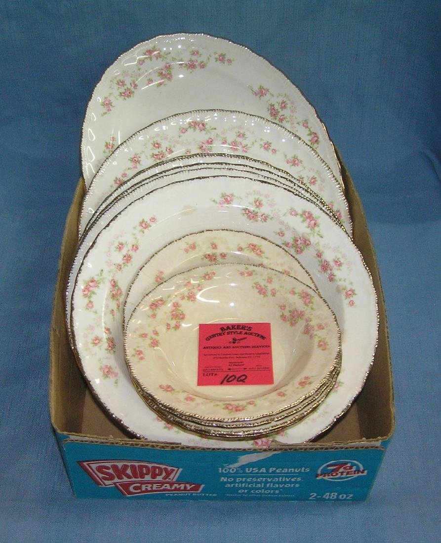 Collection of floral decorated china serving pieces