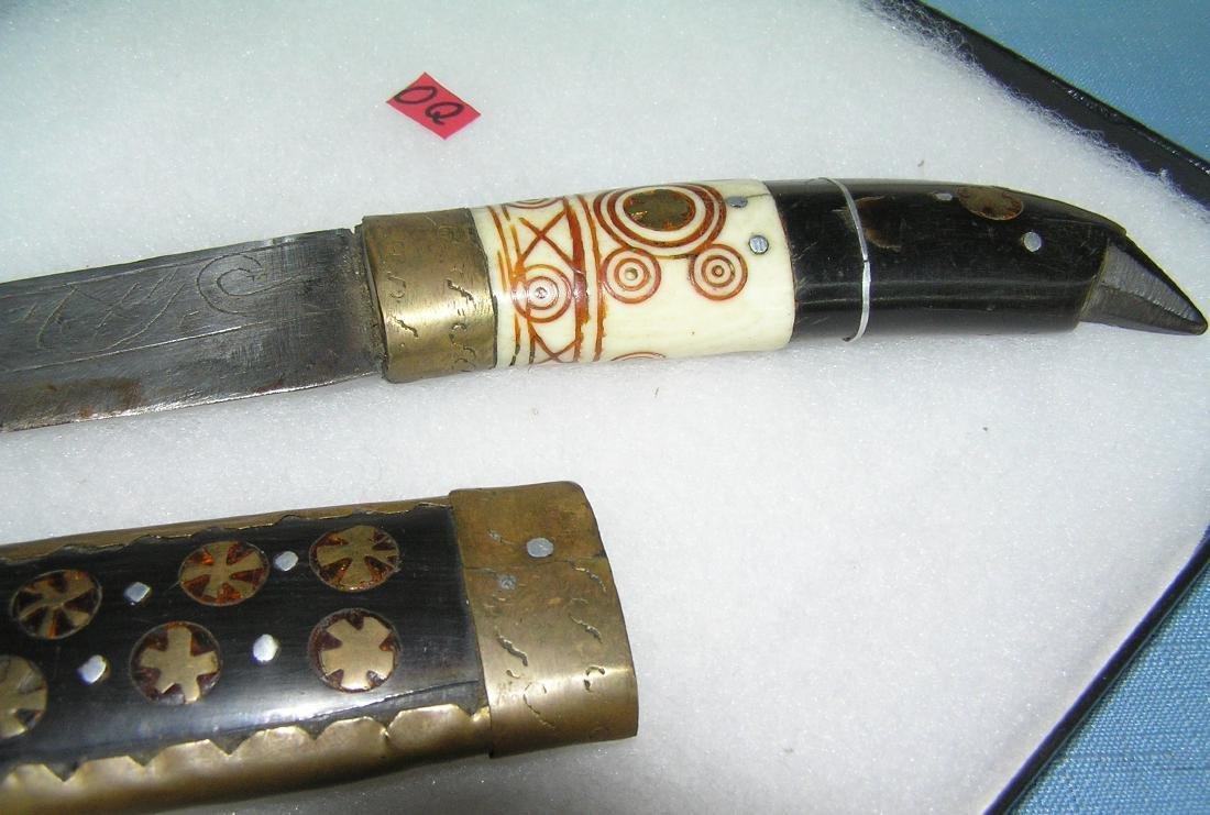 Antique dagger made of bone, brass, walnut and steel - 2