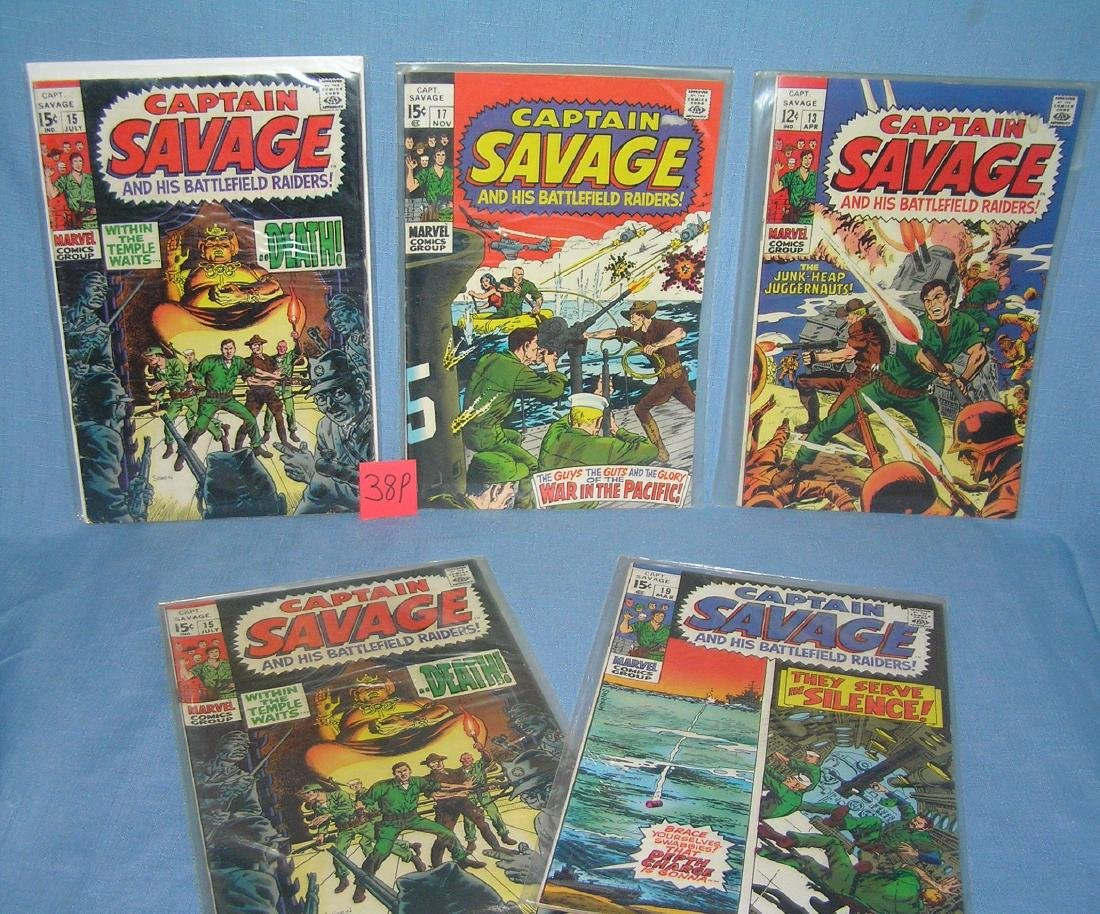 Group of early Capt. Savage comic books